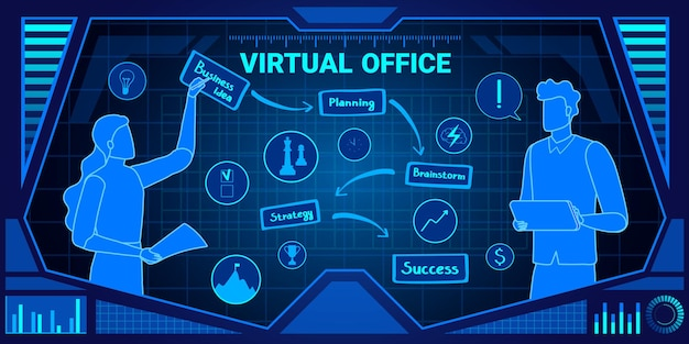 Ilustracja usługi biura wirtualnego.