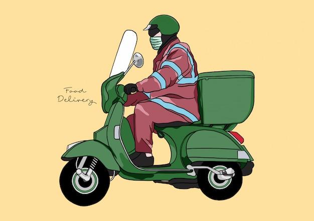 Ilustracja usługi dostarczania żywności / człowieka / motocykla z pełną ochroną podczas pandemii covid-19