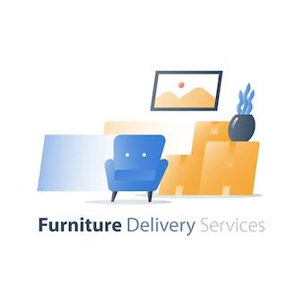 Ilustracja usługi dostawy mebli