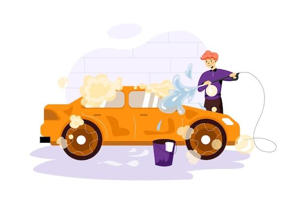 Ilustracja usługi mycia samochodu