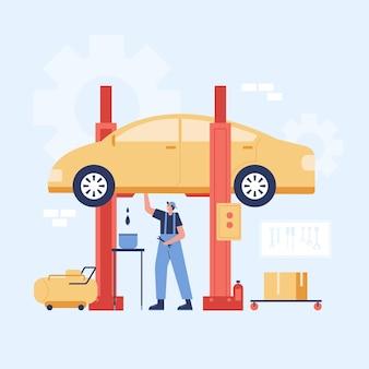 Ilustracja usługi naprawy i konserwacji samochodów.