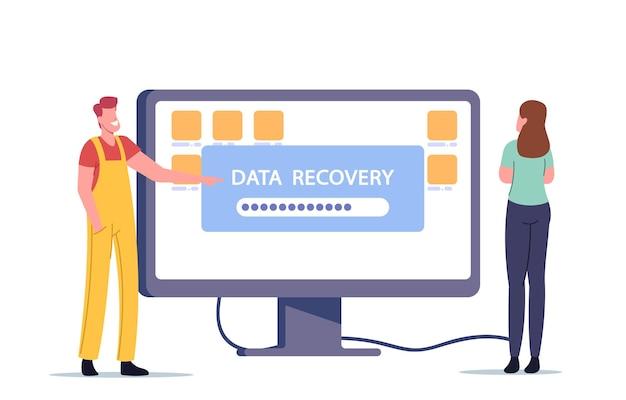 Ilustracja usługi odzyskiwania danych, tworzenia kopii zapasowych, naprawy sprzętu zabezpieczającego