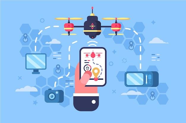 Ilustracja Usługi Online Dostawy Drona Premium Wektorów