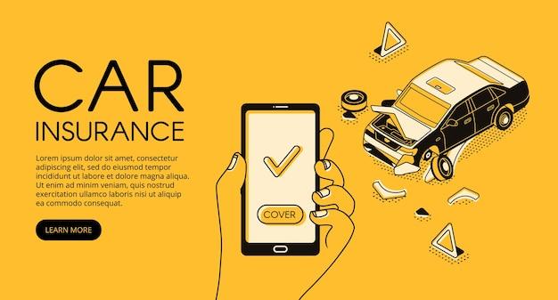 Ilustracja usługi ubezpieczenia samochodu od wypadku pojazdu i pomocy odzyskiwania kierowcy