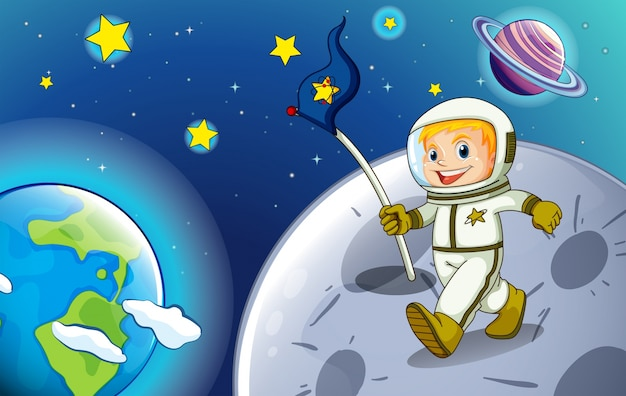 Ilustracja uśmiechnięta astronauta w outerspace