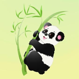 Ilustracja uśmiechniętej pandy na bambusowej łodydze
