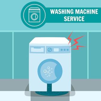 Ilustracja uszkodzonej elektrycznej pralki automatycznej
