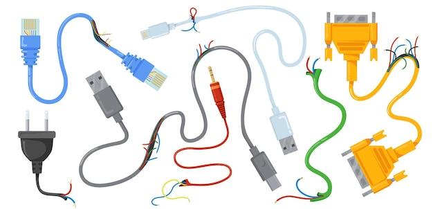Ilustracja uszkodzonych kabli i przewodów usb