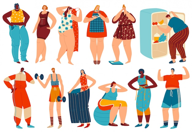 Ilustracja utrata masy ciała, postać z kreskówki otyłej kobiety mężczyzna otyłej utraty tłuszczu po diecie i ćwiczeń sportowych zestaw ćwiczeń
