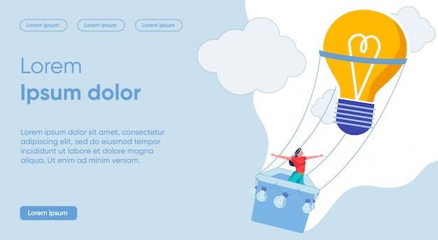 Ilustracja uzyskiwanie konkretnego i żywego pomysłu. dziewczyna w odzieży sportowej leci w balon na tle chmur.