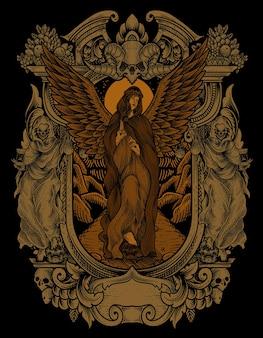 Ilustracja vintage anioł z grawerowaniem stylu ornament