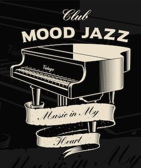 Ilustracja vintage fortepian ze wstążką na ciemnym tle. tekst znajduje się w osobnej grupie.