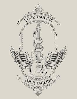 Ilustracja vintage gitara skrzydła w stylu monochromatycznym