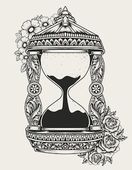 Ilustracja vintage klepsydra z kwiatowym ornamentem