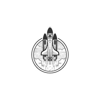 Ilustracja vintage logo promu kosmicznego