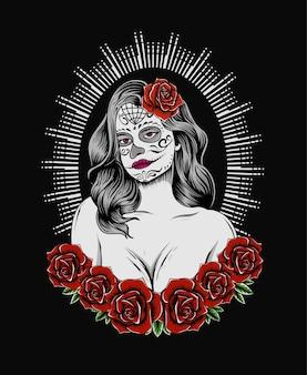 Ilustracja vintage meksykańska martwa dziewczyna