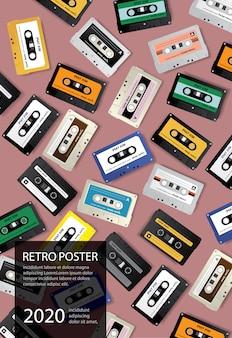 Ilustracja vintage retro taśma kasetowa