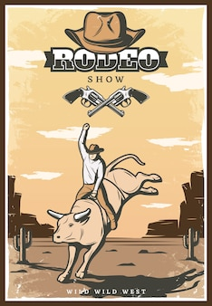 Ilustracja vintage rodeo show