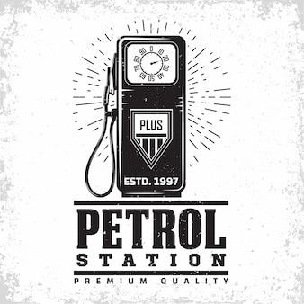 Ilustracja vintage stacji benzynowej