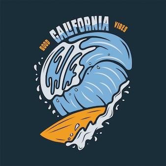 Ilustracja vintage surf. cytat z typografii good california vibes.