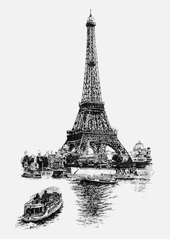 Ilustracja vintage, wieża eiffla