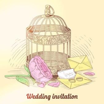Ilustracja vintage zaproszenie na ślub