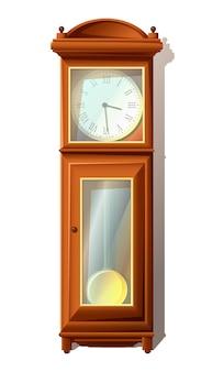 Ilustracja vintage zegar podłogowy z drewna ze szkłem, starym stylu. na białym tle