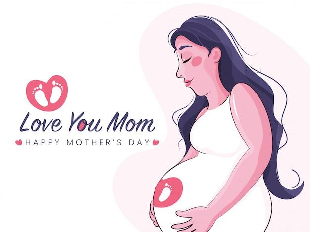 Ilustracja w ciąży mama i tekst kocham cię mamo. szczęśliwy dzień matki koncepcja.