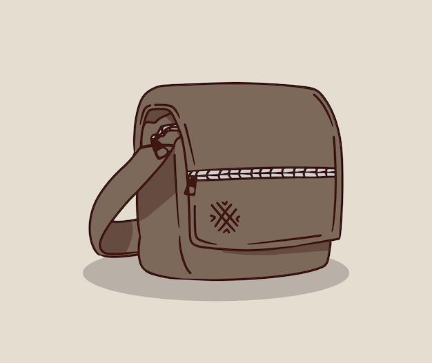 Ilustracja w kolorze brązowej torby na ramię
