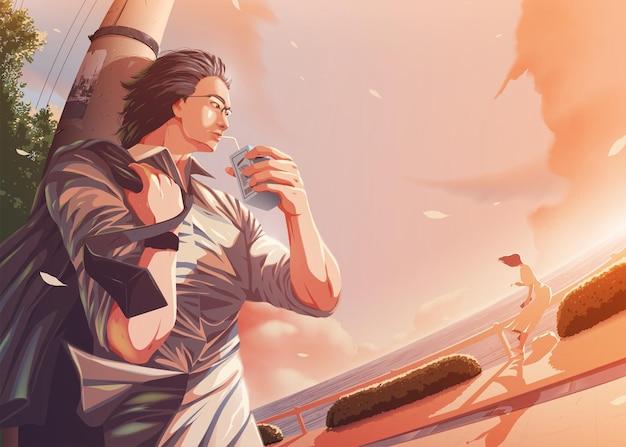 Ilustracja w stylu anime przedstawiająca mężczyznę z biura odprężającego się w porcie i rzucającego okiem na kobietę siedzącą i jedzącą posiłek w pobliżu