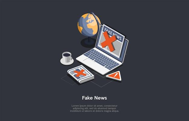 Ilustracja w stylu cartoon 3d. izometryczny skład fałszywych wiadomości i koncepcja treści mediów. ciemne i pisma