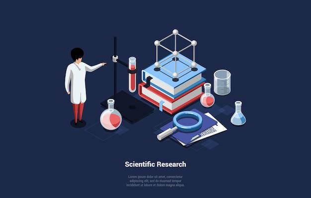 Ilustracja w stylu cartoon 3d koncepcji badań naukowych