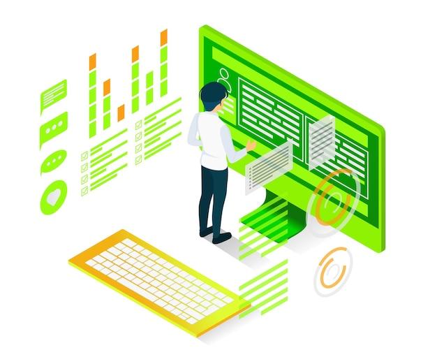Ilustracja w stylu izometrycznym analizy kodowania programisty z komputerem i postaciami