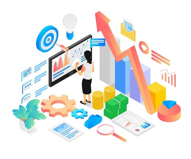 Ilustracja w stylu izometrycznym firmy zajmującej się analizą danych z postaciami i monitorem lub wykresem słupkowym