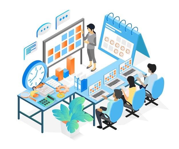 Ilustracja w stylu izometrycznym harmonogramu planowania biznesowego z postaciami i datą