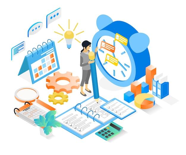 Ilustracja w stylu izometrycznym harmonogramu planowania biznesowego z postaciami i zegarem