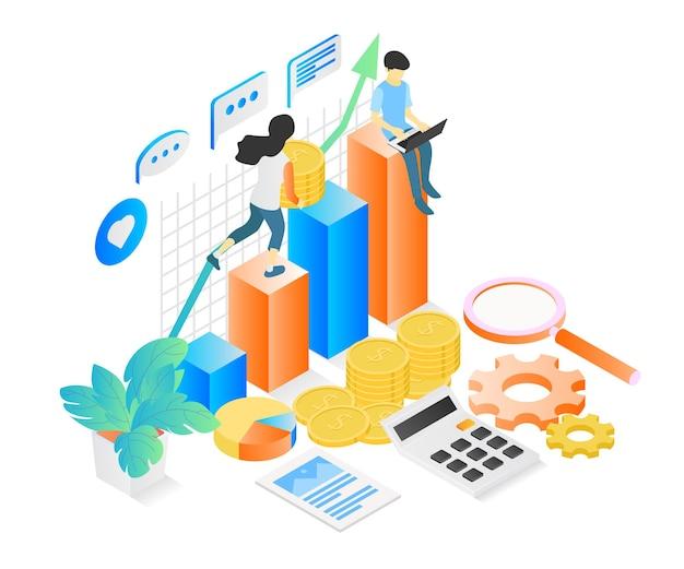 Ilustracja w stylu izometrycznym o analizie biznesowej inwestycji finansowych