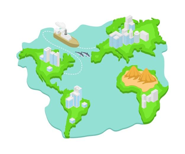 Ilustracja w stylu izometrycznym o mapie wysp między krajami z przepływającymi statkami