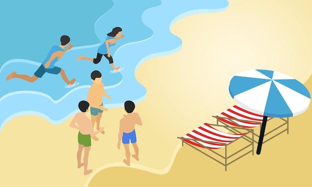 Ilustracja w stylu izometrycznym o młodych ludziach na wakacjach na plażę