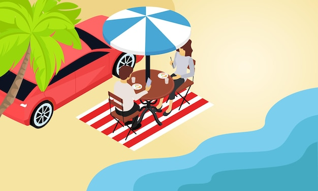 Ilustracja w stylu izometrycznym o parze na wakacjach na plaży