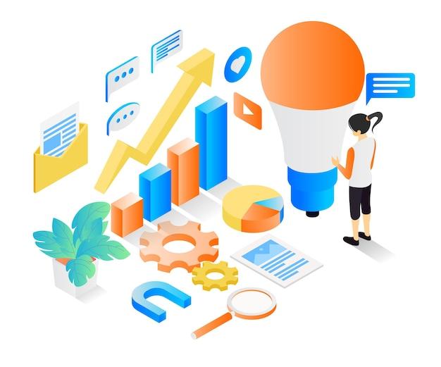 Ilustracja w stylu izometrycznym o pomysłach na strategię biznesową dla rozwoju biznesu