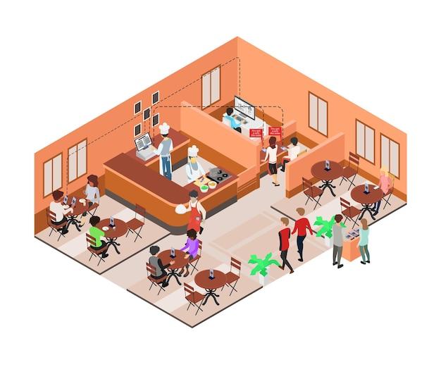 Ilustracja w stylu izometrycznym o restauracjach z aplikacjami do zamawiania stołów za pomocą smartfonów