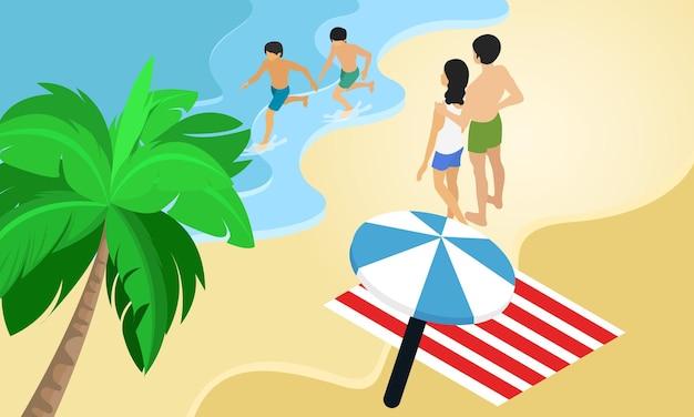 Ilustracja w stylu izometrycznym o rodzinie wakacje na plaży