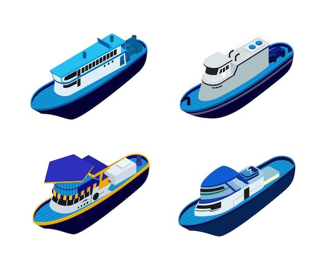 Ilustracja w stylu izometrycznym o statku lub łodzi wektorowej premium