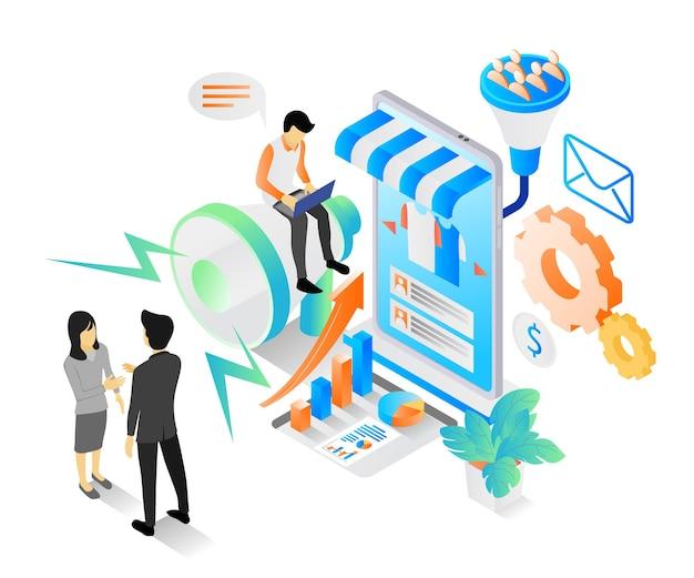 Ilustracja w stylu izometrycznym o strategii marketingowej i wzroście sprzedaży