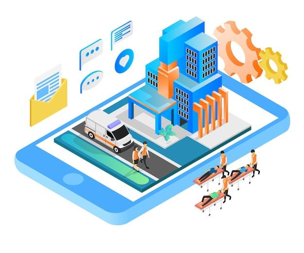 Ilustracja w stylu izometrycznym o usługach szpitalnych online za pomocą smartfona