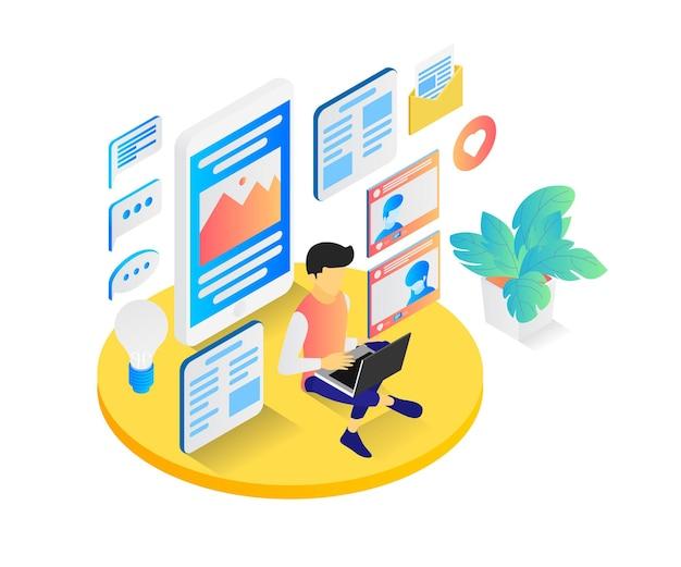 Ilustracja w stylu izometrycznym przedstawiająca blogera z laptopem tworzącego wciągające treści