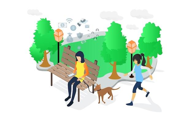 Ilustracja w stylu izometrycznym przedstawiająca kobietę siedzącą na ławce w parku i myślącą o swoim biznesie