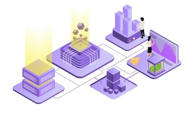 Ilustracja w stylu izometrycznym przedstawiająca zespół pracowników biznesowych wykonujących swoje zadania