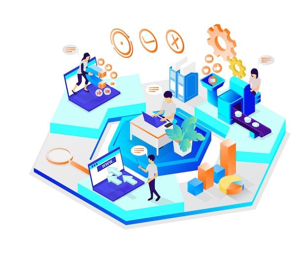 Ilustracja w stylu izometrycznym przedstawiająca zespół pracowników marketingu wykonujących swoje zadania